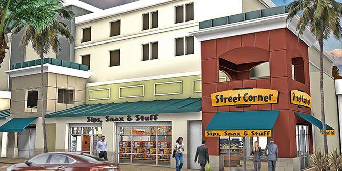 Street Corner - Sips, Snax, and Stuff slide 1
